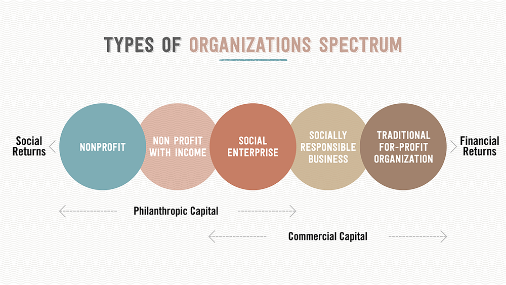 Types of organizations spectrum, business entrepreneurs, social good, social issues, products and services,