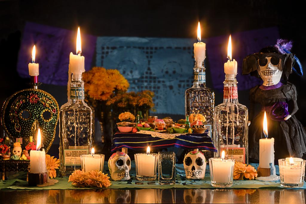 Altos tequila day of the dead ofrenda, Día de muertos, dia de los muertos cocktail recipes, mexican tradition, drinking traditions,